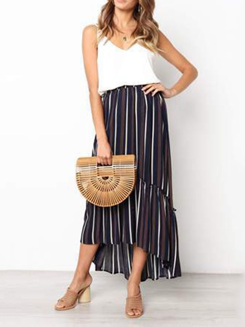 Ericdress Stripe Asymmetrical Ankle-Length High Waist Casual Skirt