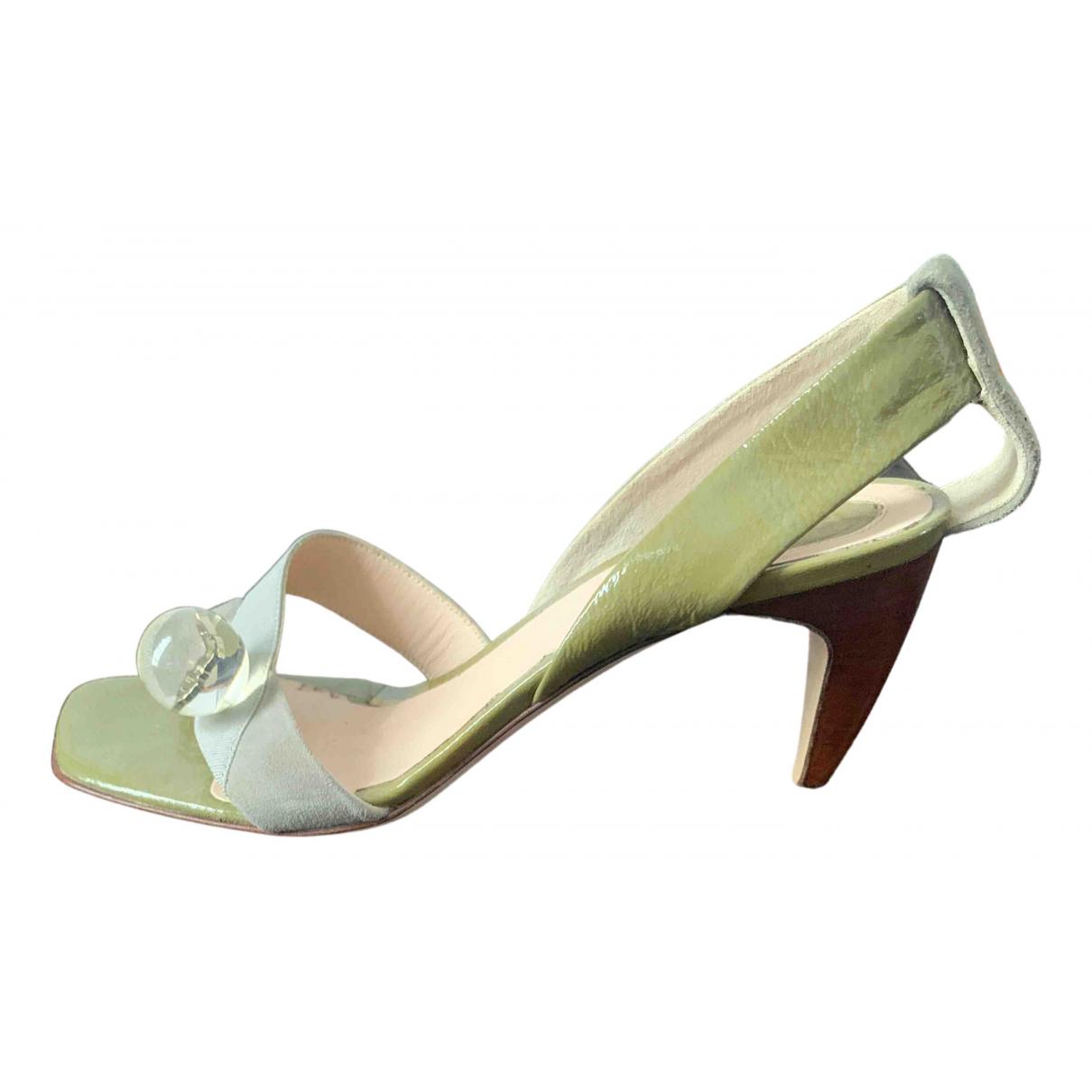 Trussardi N Grey Patent leather Sandals for Women 35 EU