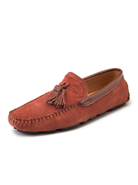 Milanoo Mens Tassel Moccasin Loafers Slip-On Round Toe Suede Driving Shoes