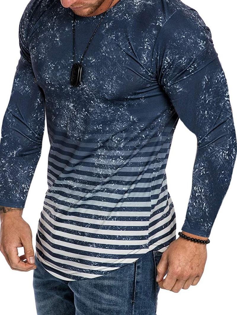 Ericdress Casual Stripe Print Pullover Slim T-shirt