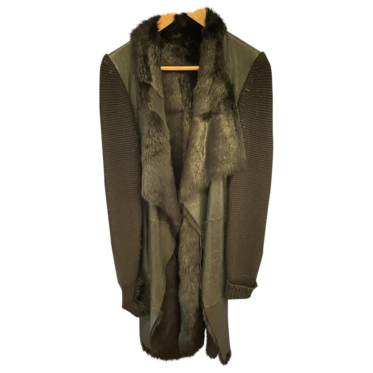 Yves Salomon - Manteau   pour femme en cuir - noir