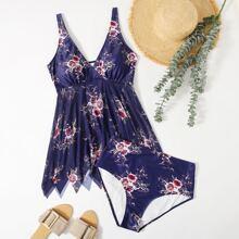 Bikini Badeanzug mit Blumen Muster und asymmetrischem Saum