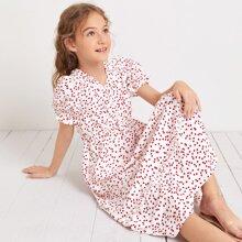 Girls Pearls Button Front Frill Trim Heart Print Dress