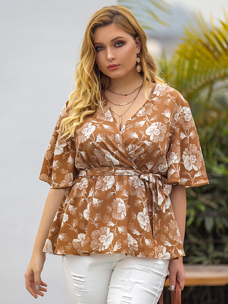 Yoins Plus Size Khaki Belt Design Floral Print V-neck Half Sleeves Blouse