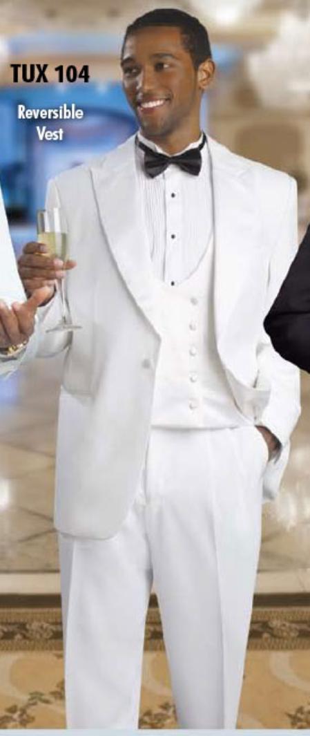 Mens 2 Button Tuxedo White Suit