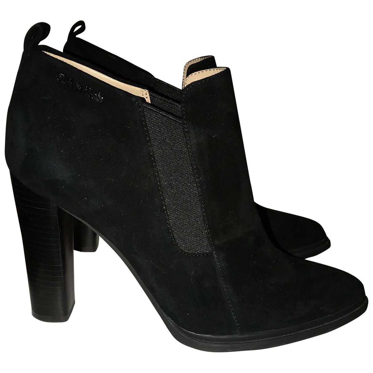 Calvin Klein - Bottes   pour femme en suede - noir