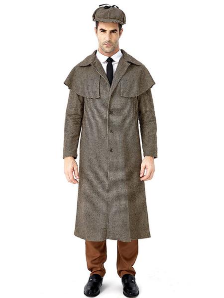 Milanoo Flaxen Vintage Coat Houndstooth Cotton Linen Retro Costumes For Man Halloween