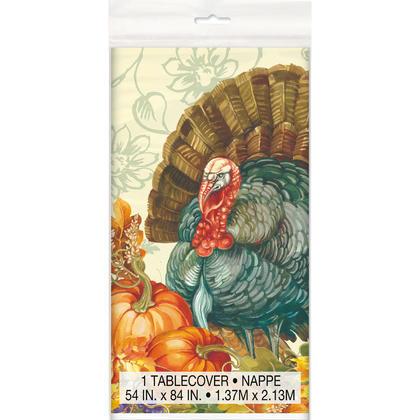 Housse de table rectangulaire en plastique Thanksgiving traditionnelle, 54