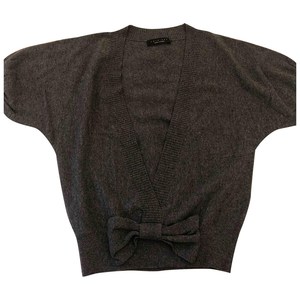 Twin Set - Pull   pour femme en laine - anthracite