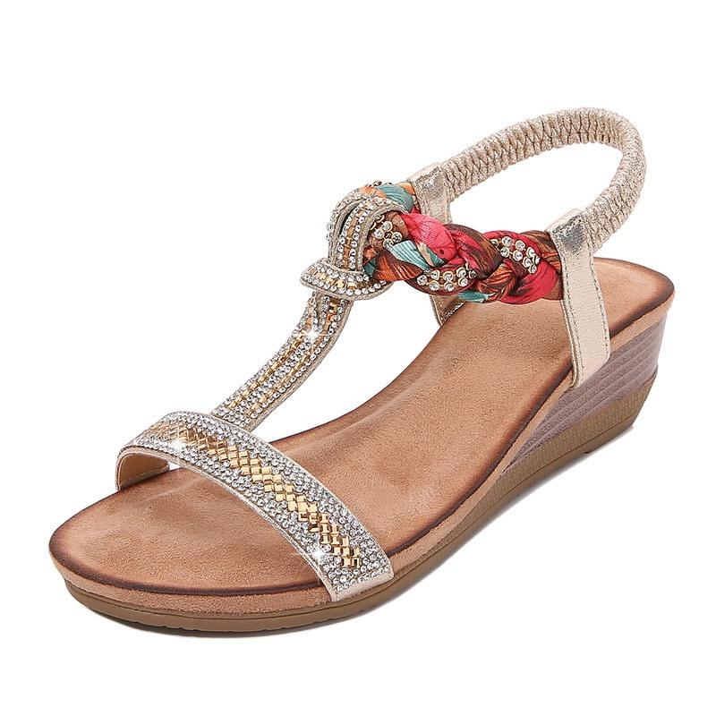 Ericdress Elastic Band Wedge Heel Open Toe Rhinestone Sandals