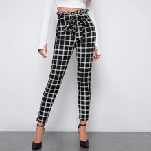 Paperbag Waist Belted Grid Pants