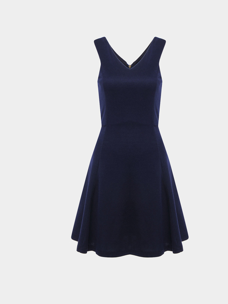 Yoins Navy Sleeveless Swing Dress With V Neck
