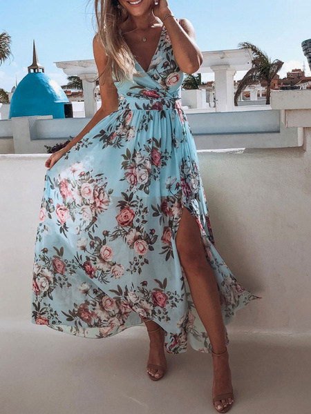 Milanoo Vestido largo Azul celeste claro Moda Mujer sin mangas de chifon Vestidos con pliegues con estampado High-Low con cuello en V estilo informal
