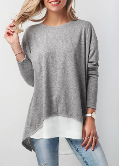 Button Back Contrast Round Neck T Shirt - XS