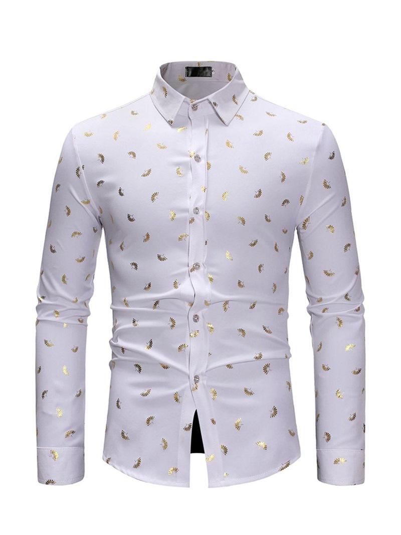 Ericdress Printed Lapel Single-Breasted Mens Casual Shirt