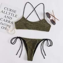 Bikini Badeanzug mit Glitzer