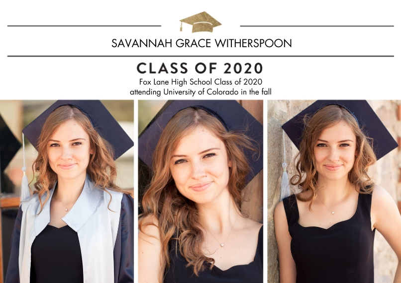2020 Graduation Announcements 5x7 Cards, Premium Cardstock 120lb, Card & Stationery -2020 Traditional by Tumbalina