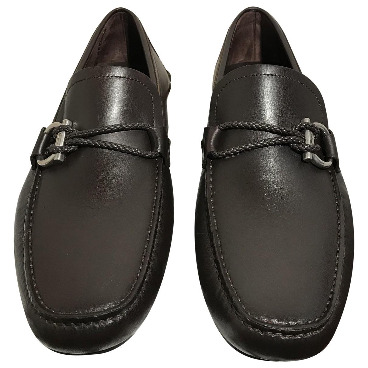 Salvatore Ferragamo N Brown Leather Flats for Men 8.5 US