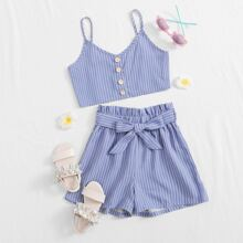 Girls Buttoned Front Striped Cami Top & Paperbag Waist Shorts Set