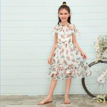 Maedchen Schulterfreies Chiffon Kleid mit Raffung Detail und Blumen Muster