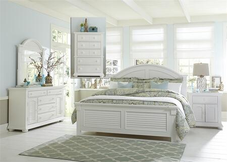 Summer House I Collection 607-BR-QPBDMCN 5-Piece Bedroom Set with Queen Panel Bed  Dresser  Mirror  Chest and Night Stand in Oyster White