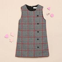 Kleid mit Knopfen vorn und Karo Muster