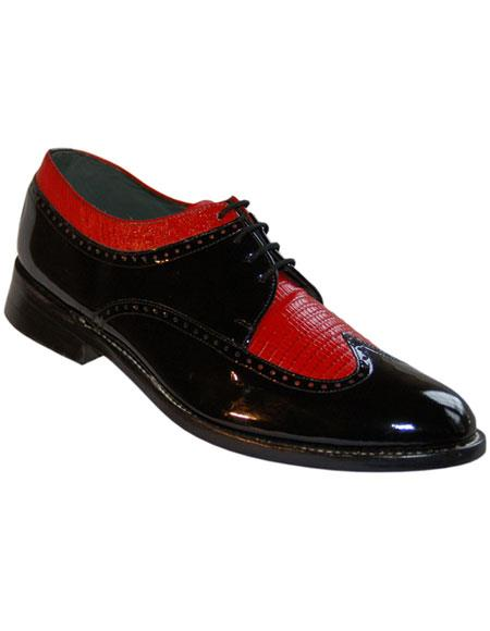Men's 4 Eyelet Lacing Leather Sole Black~Red Shoes