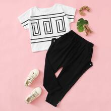 Toddler Girls Graphic Print Batwing Sleeve Tee With Pants