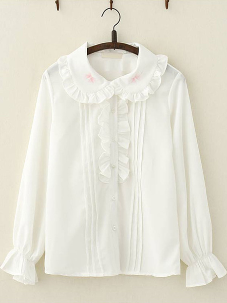 Milanoo Sweet Lolita Shirt Frill Peter Pan Collar White Chiffon Lolita Top