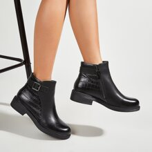 Buckle Decor Side Zip Ankle Boots