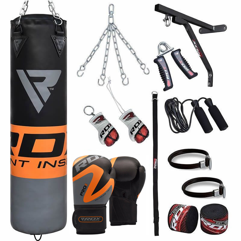 RDX 17pc Orange Sac de Frappe and Gants Gym a domicile Set