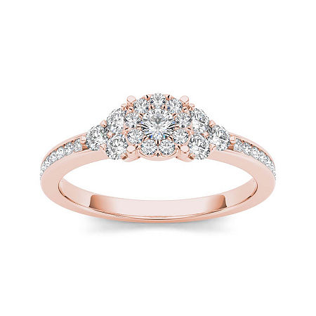1/2 CT. T.W. Diamond 10K Rose Gold Engagement Ring, 7 , No Color Family