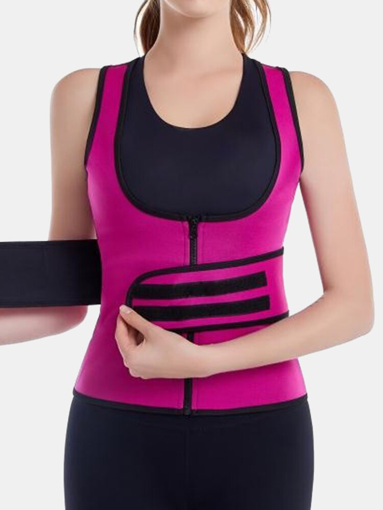 Women Abdomen Control Waist Trainer Zip Front Shapewear With Sticky Belt
