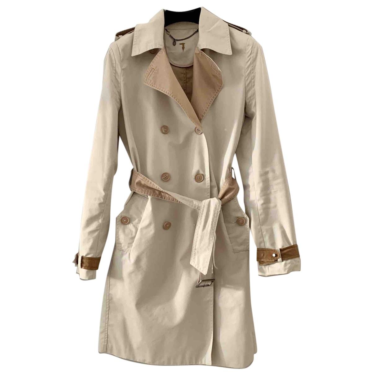 Trussardi N Beige Cotton Trench coat for Women 42 IT