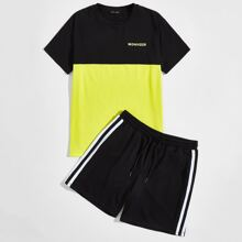Men Letter Graphic Colorblock Top & Track Shorts Set