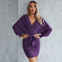 Cut Out Back Surplice Neck Belted Sweater Dress