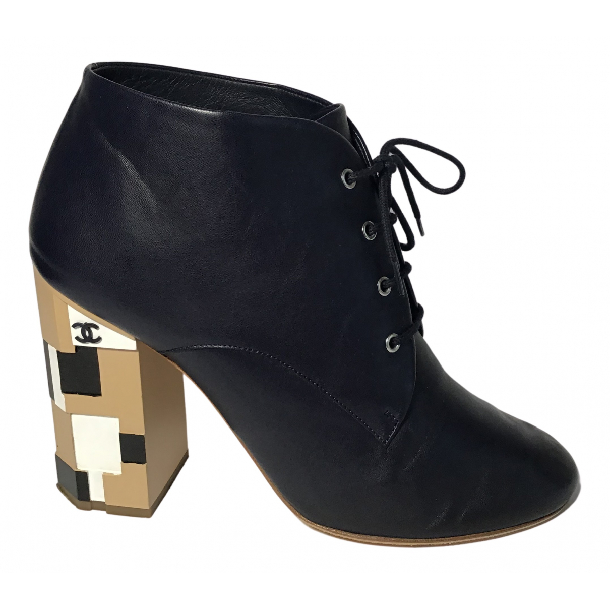 Chanel N Blue Leather Ankle boots for Women 39.5 IT