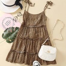 Tie Shoulder Frill Trim Leopard Cami Dress