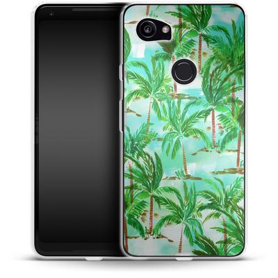 Google Pixel 2 XL Silikon Handyhuelle - Palm Tree Green von Amy Sia