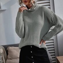Turtleneck Drop Shoulder Sweater