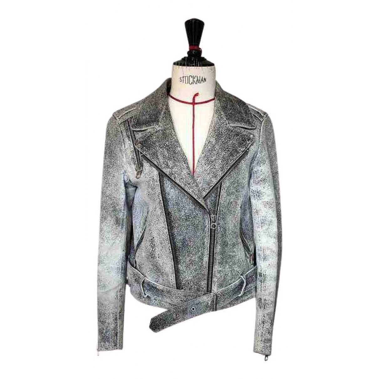 Sandro N Grey Leather Leather jacket for Women 40 FR