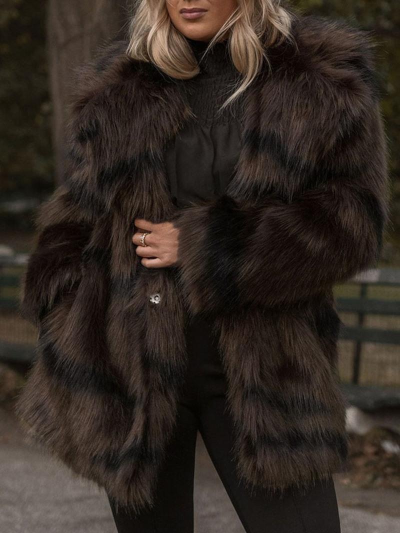 Ericdress Plain Mid-Length Winter Loose Faux Fur Overcoat