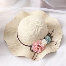 Toddler Girls Floral Decor Straw Hat