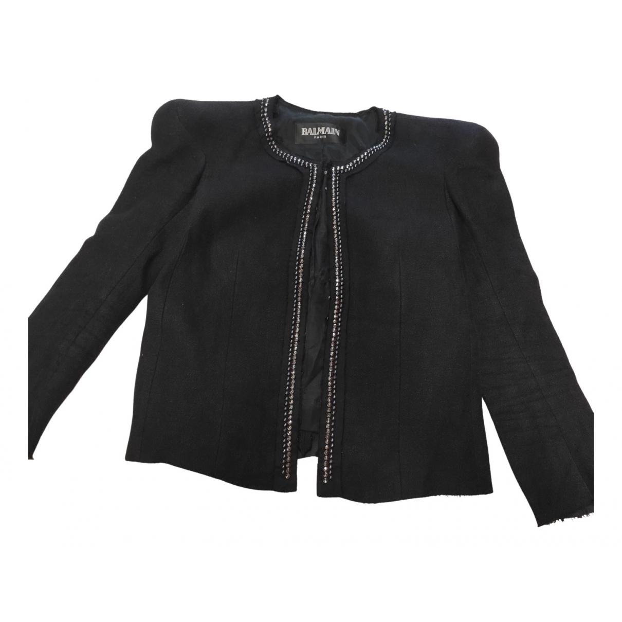 Balmain \N Black Cotton Leather jacket for Women 42 IT