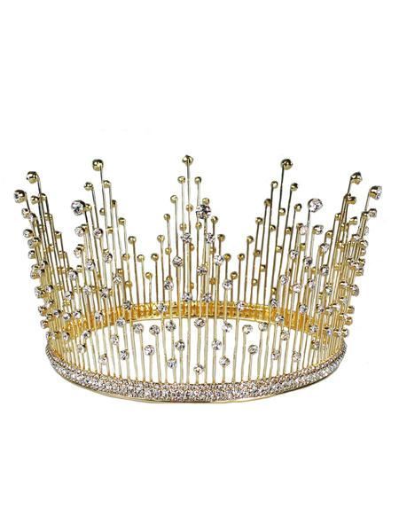 Milanoo Accesorios para la boda Accesorios para la boda Accesorios para el cabello de metal con diamantes de imitacion de la corona retro Sombreros pa