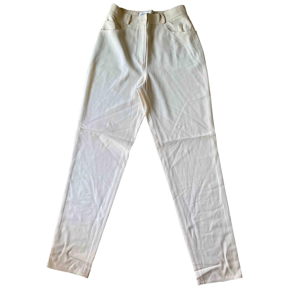 Genny \N Beige Wool Trousers for Women 42 IT