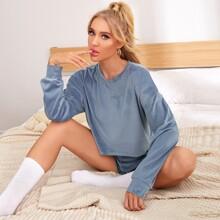 Conjunto de pijama camiseta de hombros caidos con shorts