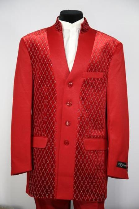 Mens Diamond Pattern Flap Two Pocket Red Zoot Suit