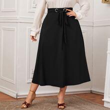 Plus Grommet Eyelet Tie Front Skirt
