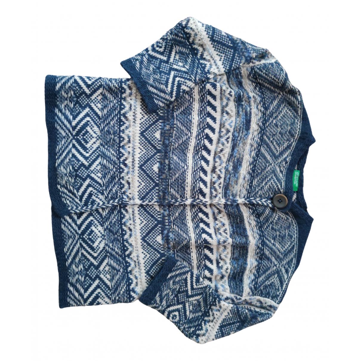 Benetton - Pull   pour enfant en laine - bleu